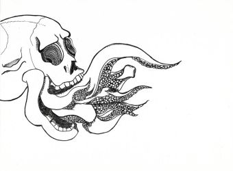 Tentacle Skull Lineart 09-12-17 by sacerludum