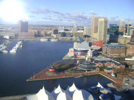 aerial shot of downtown Baltimore by ATwistintheMyth