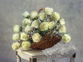 Still life with roses basket by Daykiney