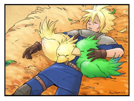 Cloud and chocobos by animama