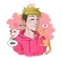 Josh Dun With Cats by berylette