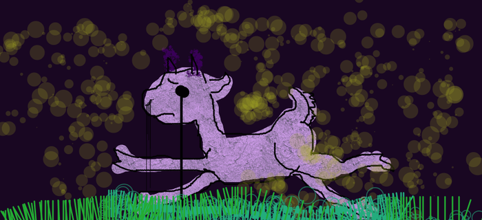 Sad Goat Runs From Fireflies by Mirrankei