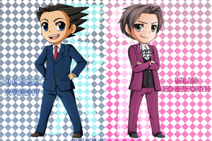 AA: Miles and Phoenix chibis by ozamham