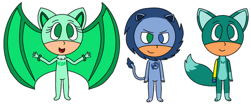 Cj,Beot and Dleo on PJMasks style by Mushy-Sugar-Chan