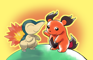 Cyndaquil and Honoguma by Gooompy
