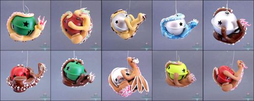 Dragon Christmas Ornaments by PepperTreeArt