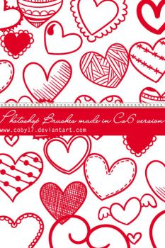 Hearts and Hearts Photoshop Brushes by Coby17