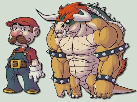 mario and bowser color by Rick-Lee