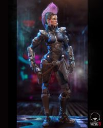 Futurepunk Female Gunfighter - 3D Game Resolution by jubjubjedi