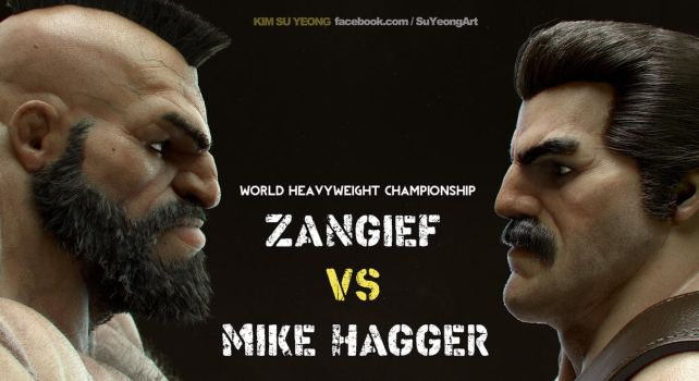 Mike Haggar VS Zangief by Kimsuyeong81