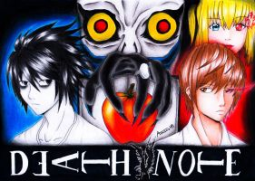 Death Note Illustration - Colored Pencils + video by Amana-HB