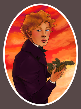 Enjolras and his pet turtle for Septembriseur by camelonajourney