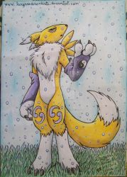 Renamon - Snowing (finished) by laryssadesenhista