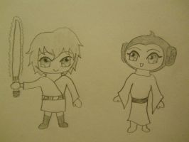 Star Wars Chibis: Luke and Leia by tenshiface