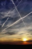 Sunset Contrails by ladyred200141