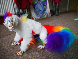 Poseable Art Doll rainbow racoon monster by TrafficConeCreations