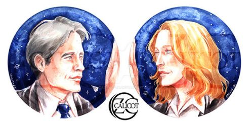 PHILES FOR CHARITY ~ Mulder and Scully Artwork by Calicot-ZC