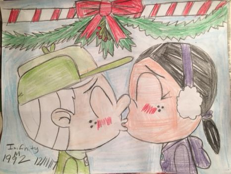 Ronnie Anne and Lincoln kiss under the Mistletoe by InifinityM1992