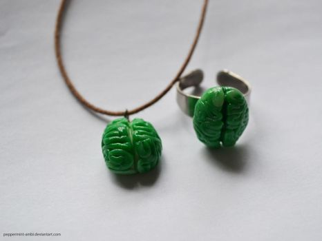 Zombie Brain Ring + Pendant by peppermint-ambi