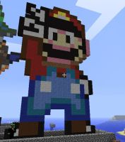 Minecraft Mario Statue by myvideogameworld