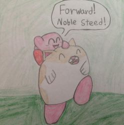 Kirby star allies mini Piggyback ride by ShannonTheArt
