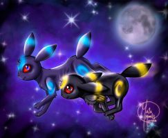 Shiny and Normal Umbreon by HavocGirl