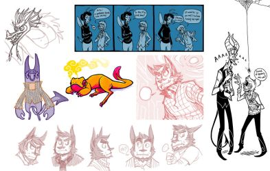 Oct 2011 sketches and inks by Grim-Amentia