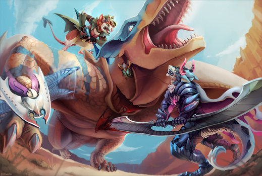 Tigrex hunt [+speedpaint] by Kirwick