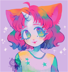 colorful cat by catkaiju