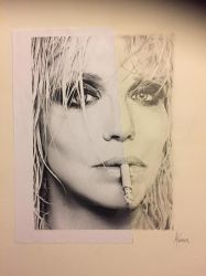 Courtney Love Half Portrait Practice by PaintedLiLy