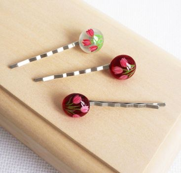 Hairpins Tulips with hand painted by HappyGlassJewelryArt