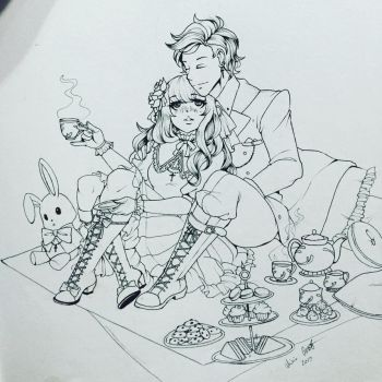 Tea With You (ink) by Kittygur38