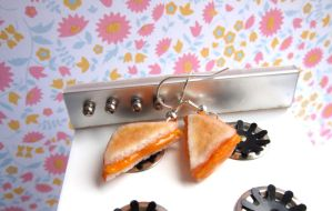 Grilled Cheese Earrings by LittleSweetDreams