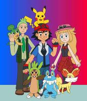 Ash and his friends in Pokemon X and Y by MCsaurus