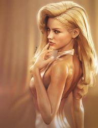 Sexy Blonde Pin-Up, Fantasy Woman Art, DS Iray by shibashake