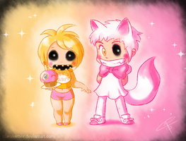 Toy Chica and Mangle by ClaraKerber