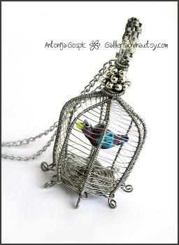 Birdcage pendant 2 - wire wrapped by Faeriedivine