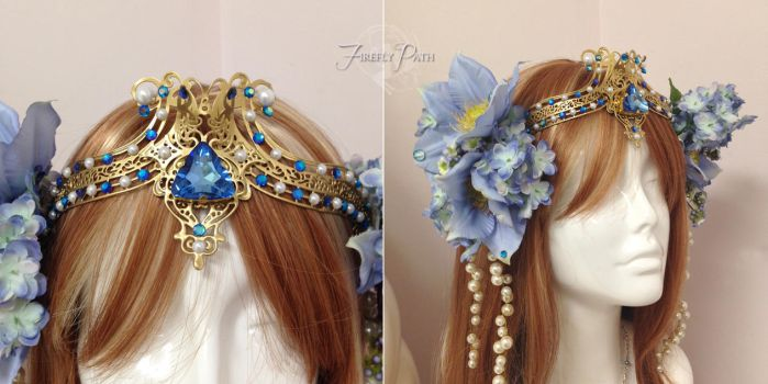 Periwinkle Art Nouveau Headdress by Firefly-Path