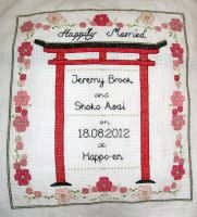 Japanese Wedding Sampler by VickitoriaEmbroidery