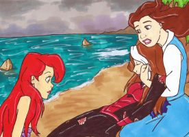 Ariel and Belle Rescue Destiny (Request) by perfect-fairytale