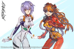 Rei And Asuka Post 2 by THEJETTYJETSHOW