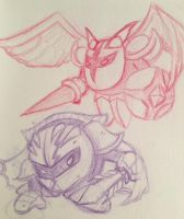 Meta Knight vs Galacta Knight Sketch by rio-is-ok