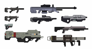 UNSC Halo 3 Weapons (Pixel Art) by Pwnisim