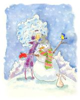 Winter girl and snowman by jkBunny