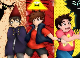 Three Worlds : Wirt, Dipper, and Steven by Shockwave05