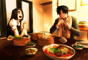 Dinner at her house +commish+ by Mari-M-Stamps