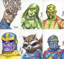 Guardians of the Galaxy Sketch Cards by JohnJett