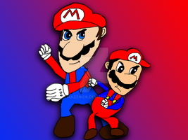 Modern Mario and Classic Mario by Mazznick