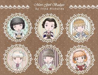Mori Girl Badges by irinarichards