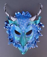 Teal Frost Dragon Mask by merimask